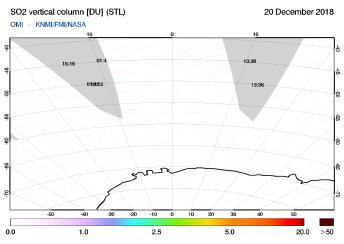 OMI - SO2 vertical column of 20 December 2018