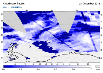 OMI - Cloud cover fraction of 21 December 2018