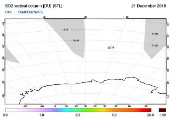 OMI - SO2 vertical column of 21 December 2018
