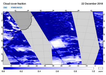 OMI - Cloud cover fraction of 22 December 2018