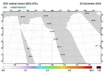 OMI - SO2 vertical column of 22 December 2018