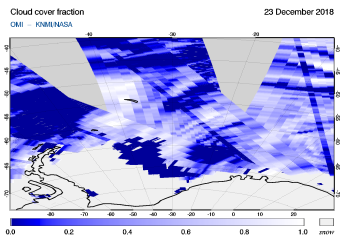 OMI - Cloud cover fraction of 23 December 2018