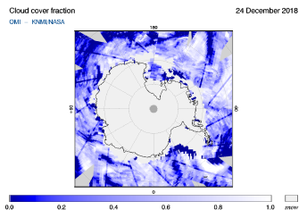 OMI - Cloud cover fraction of 24 December 2018
