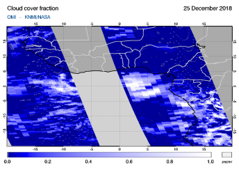 OMI - Cloud cover fraction of 25 December 2018