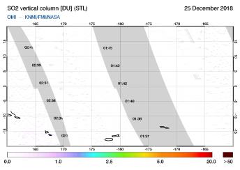 OMI - SO2 vertical column of 25 December 2018
