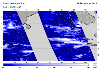 OMI - Cloud cover fraction of 26 December 2018