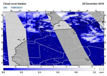 OMI - Cloud cover fraction of 28 December 2018