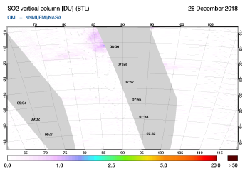 OMI - SO2 vertical column of 28 December 2018