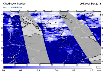 OMI - Cloud cover fraction of 29 December 2018