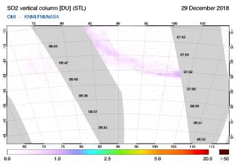 OMI - SO2 vertical column of 29 December 2018