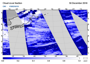 OMI - Cloud cover fraction of 30 December 2018