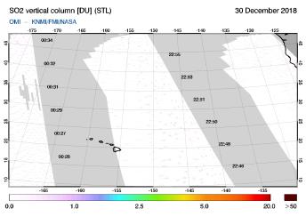 OMI - SO2 vertical column of 30 December 2018