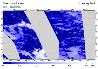 OMI - Cloud cover fraction of 01 January 2019