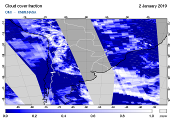 OMI - Cloud cover fraction of 02 January 2019