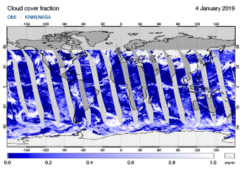OMI - Cloud cover fraction of 04 January 2019