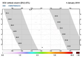 OMI - SO2 vertical column of 04 January 2019
