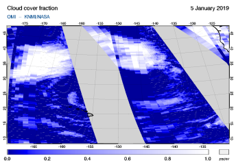 OMI - Cloud cover fraction of 05 January 2019