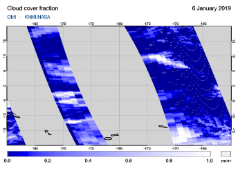 OMI - Cloud cover fraction of 06 January 2019