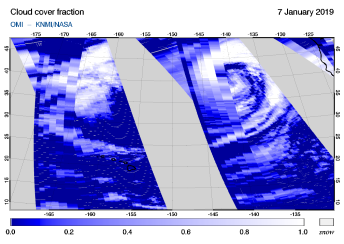 OMI - Cloud cover fraction of 07 January 2019