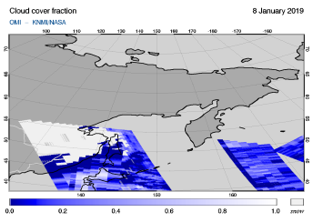 OMI - Cloud cover fraction of 08 January 2019