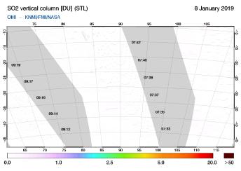 OMI - SO2 vertical column of 08 January 2019