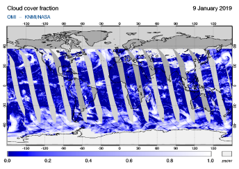 OMI - Cloud cover fraction of 09 January 2019