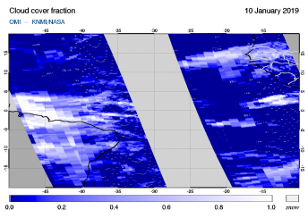 OMI - Cloud cover fraction of 10 January 2019