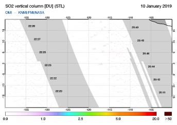 OMI - SO2 vertical column of 10 January 2019