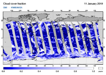 OMI - Cloud cover fraction of 11 January 2019