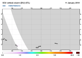 OMI - SO2 vertical column of 11 January 2019