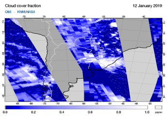 OMI - Cloud cover fraction of 12 January 2019