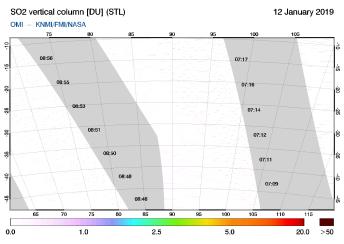 OMI - SO2 vertical column of 12 January 2019