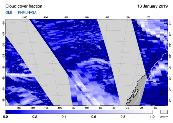 OMI - Cloud cover fraction of 13 January 2019