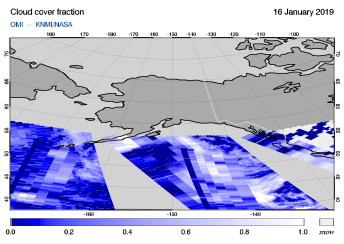 OMI - Cloud cover fraction of 16 January 2019