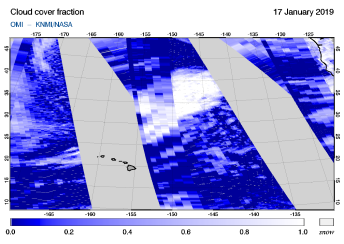 OMI - Cloud cover fraction of 17 January 2019