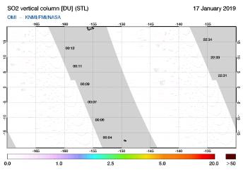 OMI - SO2 vertical column of 17 January 2019