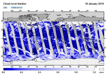 OMI - Cloud cover fraction of 18 January 2019