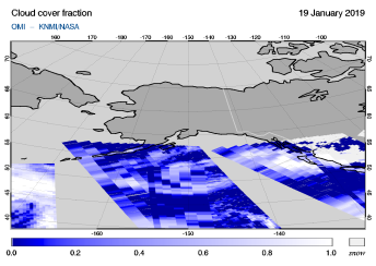 OMI - Cloud cover fraction of 19 January 2019
