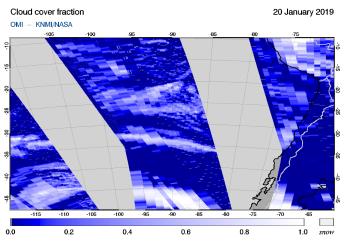 OMI - Cloud cover fraction of 20 January 2019