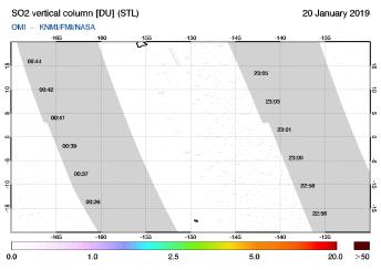 OMI - SO2 vertical column of 20 January 2019