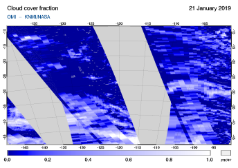 OMI - Cloud cover fraction of 21 January 2019