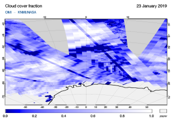 OMI - Cloud cover fraction of 23 January 2019