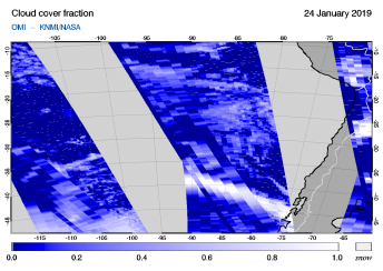 OMI - Cloud cover fraction of 24 January 2019