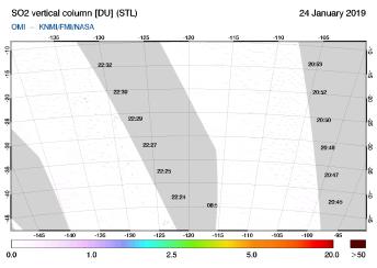 OMI - SO2 vertical column of 24 January 2019
