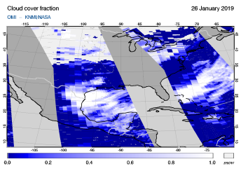 OMI - Cloud cover fraction of 26 January 2019