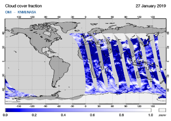 OMI - Cloud cover fraction of 27 January 2019