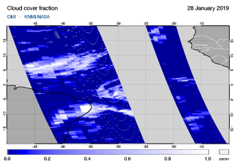 OMI - Cloud cover fraction of 28 January 2019