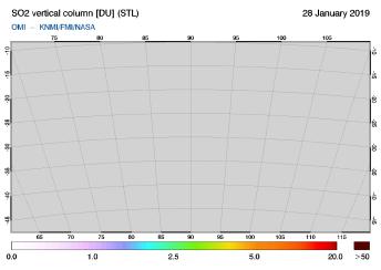 OMI - SO2 vertical column of 28 January 2019