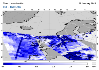 OMI - Cloud cover fraction of 29 January 2019