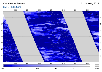 OMI - Cloud cover fraction of 31 January 2019